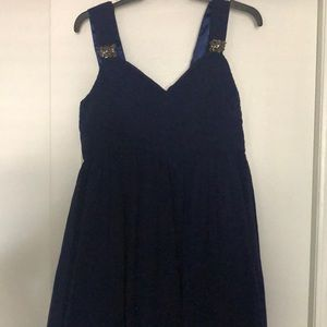 Formal dress, navy with beading accent on sleeves.